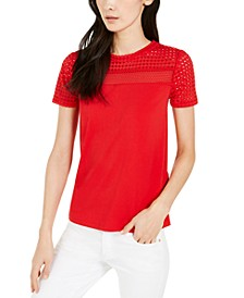 Mesh-Trim Crepe Top, Regular & Petite Sizes