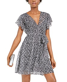 Petal-Print Belted Dress