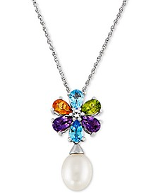 """Cultured Freshwater Pearl (8mm) & Multi-Gemstone (2-1/2 ct. t.w.) Flower 18"""" Pendant Necklace in Sterling Silver"""
