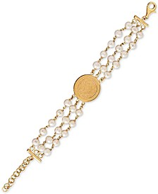 Cultured Freshwater Pearl (6mm) Triple Layer Coin Statement Bracelet in 14k Gold-Plated Sterling Silver