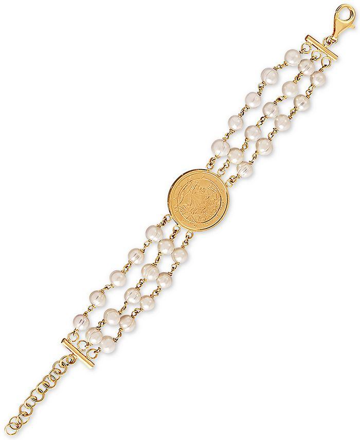 Macy's - Cultured Freshwater Pearl (6mm) Triple Layer Coin Statement Bracelet in 14k Gold-Plated Sterling Silver