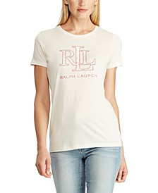 Short-Sleeve Top With Metallic Crest
