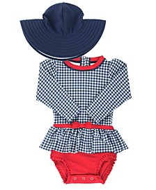 RuffleButts Toddler Girl's Skirted 1-Piece Swimsuit Swim Hat Set