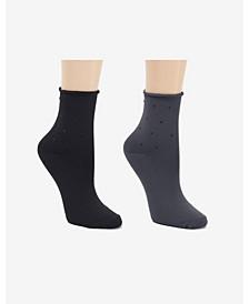 Soft Microfiber 2 Pc Demi Crew Dress Sock