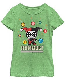 DC Comic's Big Girl's Kawaii Harley Quinn Humbug Short Sleeve T-Shirt