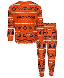 Big Boys Denver Broncos Wordmark Holiday Pajama Set