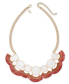 "INC Gold-Tone Stone & Tassel Fringe Statement Necklace, 18"" + 3"" extender, Created for Macy's"