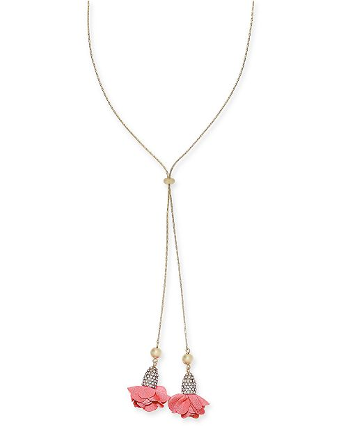 "INC International Concepts INC Gold-Tone Pavé & Fabric Flower 38"" Adjustable Lariat Necklace, Created For Macy's"
