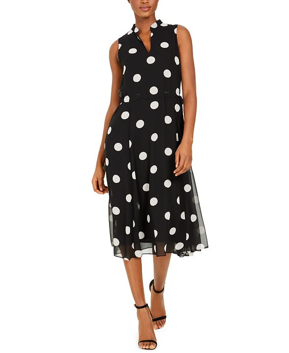 Anne Klein Dot-Print Midi Dress