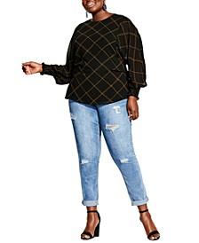 Trendy Plus Size Scratch Plaid Blouse