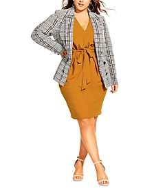 Trendy Plus Size Oxford Houndstooth Jacket