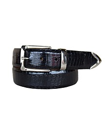 Men's Le Bernardin Italian Calfskin Embossed Teju Lizard Print Leather Dress Belt