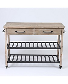 Two Drawer Wood Kitchen Cart With Metal Rack Open Storage