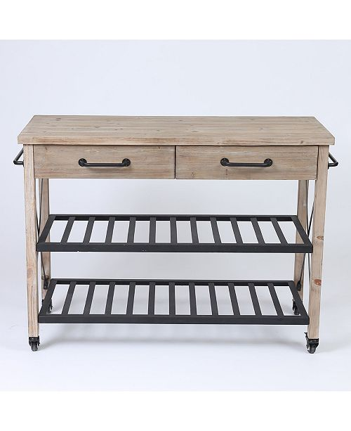 Luxen Home Two Drawer Wood Kitchen Cart With Metal Rack Open Storage