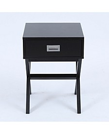 X-Leg Accent End Table With Storage