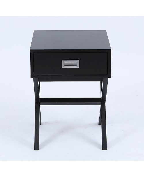 Luxen Home X-Leg Accent End Table With Storage