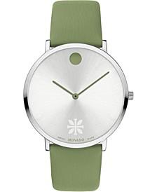 Unisex Swiss Modern 47 Green Vegan Leather Strap Watch 40mm