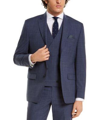 Men's Classic-Fit UltraFlex Navy Windowpane Suit Separate Jacket