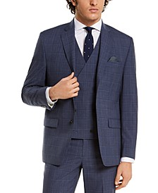 Men's Classic-Fit UltraFlex Navy Windowpane Suit Separate Jacket