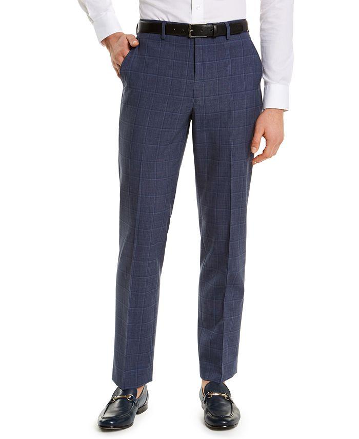 Ralph Lauren Men's Classic-Fit UltraFlex Suit Separate Pants (Navy Windowpane)