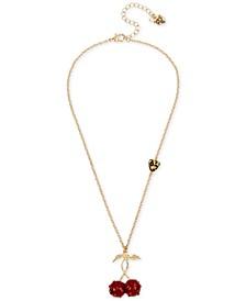 """Gold-Tone Pavè Cherry Pendant Necklace, 18"""" + 3"""" extender"""