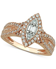 Diamond Marquise Halo Ring (3/4 ct. t.w.) in 14k Rose Gold