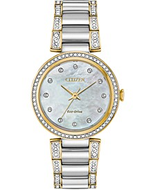 Eco-Drive Women's Silhouette Crystal Two-Tone Stainless Steel Bracelet Watch 28mm