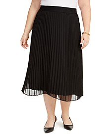 Plus Size Pleated Midi Skirt, Created for Macy's