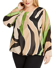 Plus Size Bubble-Hem Blouse, Created for Macy's