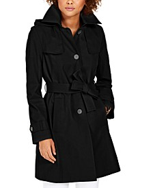 Belted Hooded Water-Resistant Trench Coat
