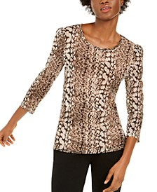 INC Snake-Print Puff-Sleeve Top, Created for Macy's