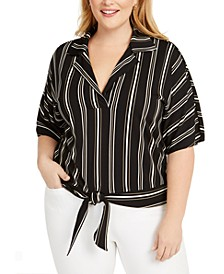 Plus Size Striped Tie-Front Top, Created For Macy's