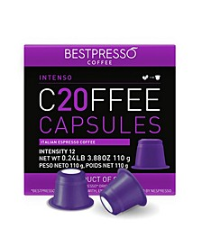 Coffee Intenso Flavor 20 Capsules per Pack for Nespresso Original Machine