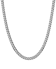 """Flat Curb Link 18"""" Chain Necklace in Sterling Silver"""