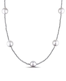"""South Sea Cultured Pearl (11-12mm) Tin Cup 36"""" Necklace in 18k White Gold"""