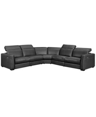 nicolo 5pc leather sectional sofa with 3 power recliners with headrest - Sofa Sectional