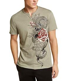 INC Men's Split-Neck Studded T-Shirt, Created for Macy's