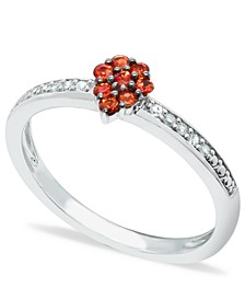 Orange Sapphire (1/4 ct. t.w.) Diamond (1/20 ct. t.w.) Stackable ring Set in Sterling  Silver