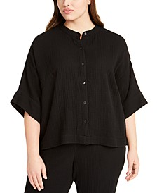 Plus Size Organic Cotton Mandarin-Collar Top
