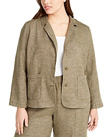 Plus Size Organic Linen Notch Collar Shaped Blazer