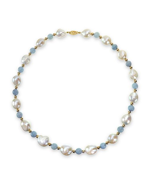 """Macy's White Freshwater Cultured Pear (11-12mm) with Blue Aquamarine (8mm) and Gold Beads (4mm) 18"""" Necklace in 14k Yellow Gold"""