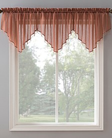 "Crushed Sheer Voile 51"" x 24"" Beaded Ascot Valance"