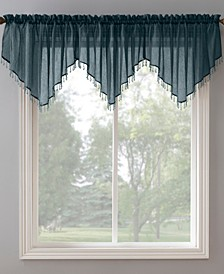 """Crushed Sheer Voile 51"""" x 24"""" Beaded Ascot Valance"""