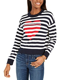 Cotton Striped Heart Sweater