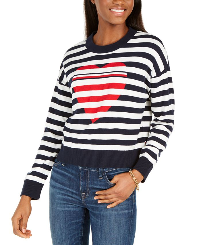 Tommy Hilfiger - Cotton Striped Heart Sweater