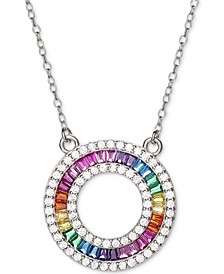 "Cubic Zirconia Rainbow Circle 18"" Pendant Necklace in Sterling Silver"