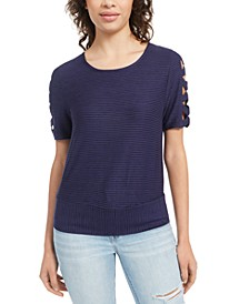 Juniors' Lattice-Cutout Banded-Hem Top