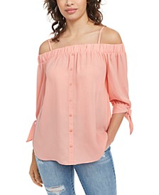 Juniors' Tie-Cuff Off-The-Shoulder Top