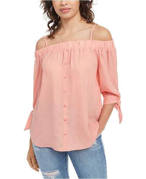 BCX Juniors' Tie-Cuff Off-The-Shoulder Top