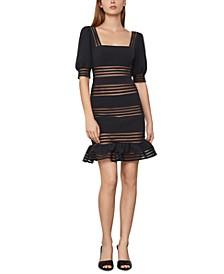 Sheer-Stripe Mini Dress